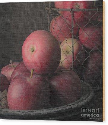 Sun Warmed Apples Still Life Square Wood Print by Edward Fielding