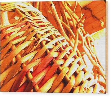 Sun Wicker Basket Wood Print by Yury Bashkin