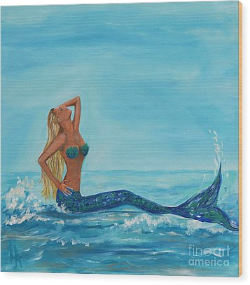 Sunbathing Mermaid Wood Print