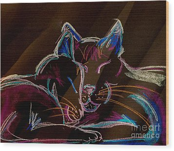 Sunbeam Cats Wood Print by Michelle Wolff