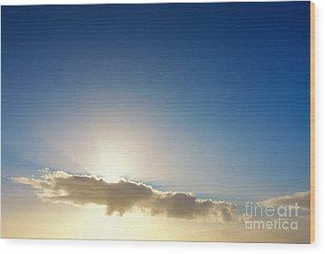 Sunbeams Behind Clouds Wood Print
