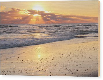 Sunbeams On The Beach Wood Print by Roupen  Baker