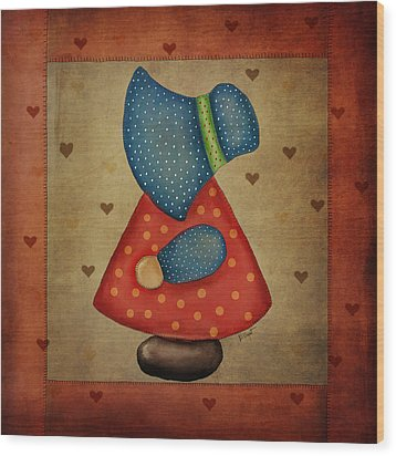 Sunbonnet Sue In Red And Blue Wood Print by Brenda Bryant