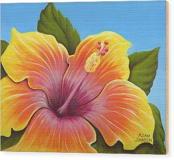 Sunburst Hibiscus Wood Print by Adam Johnson