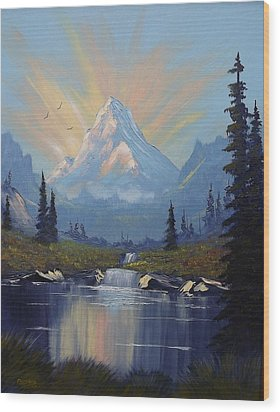 Wood Print featuring the painting Sunburst Landscape by Richard Faulkner