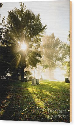 Sunburst Over Cemetery Wood Print by Amy Cicconi