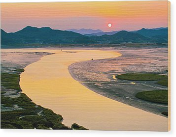 Suncheon Bay Sunset Wood Print