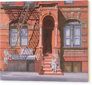Sunday Afternoon East 7th Street Lower East Side Nyc Wood Print by Anthony Butera