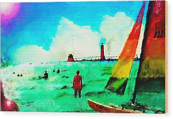 Wood Print featuring the painting Sunday At Grand Haven by Ted Azriel