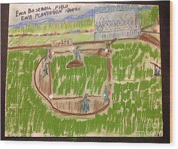 Sunday Baseball Ewa Plantation Wood Print by Willard Hashimoto