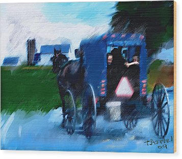 Wood Print featuring the painting Sunday Buggy Ride by Ted Azriel