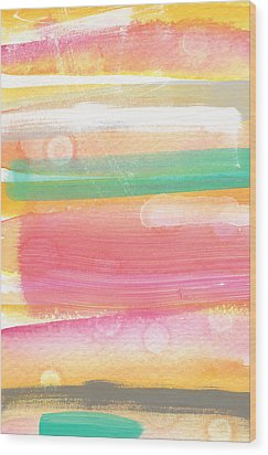 Sunday In The Park- Contemporary Abstract Painting Wood Print by Linda Woods