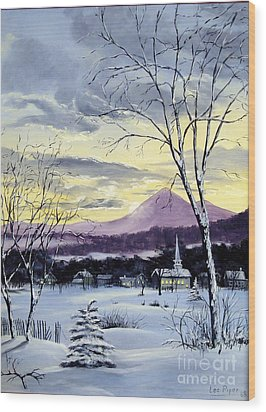 Wood Print featuring the painting Sunday In Winter by Lee Piper