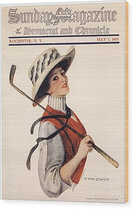 Sunday Magazine 1910s Usa Golf Womens Wood Print by The Advertising Archives