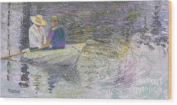 Wood Print featuring the painting Sunday Sailors by Sandy Linden