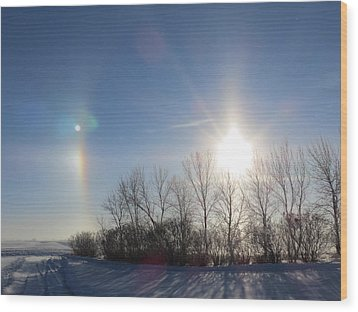 Sundog In North Dakota Wood Print