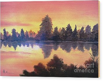 Wood Print featuring the painting Sundown by AmaS Art