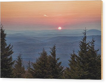 Sundown From Spruce Knob Wood Print by Jaki Miller