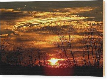 Sundown On The Farm Wood Print