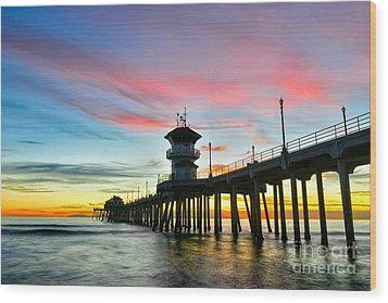 Sunet At Huntington Beach Pier Wood Print