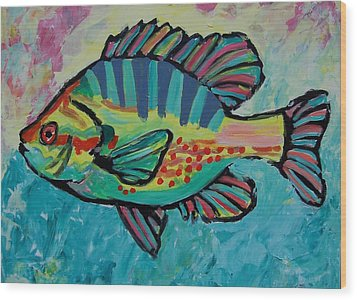 Wood Print featuring the painting Sunfish by Krista Ouellette