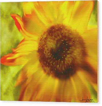 Wood Print featuring the digital art Sunflower-a-blaze by Janie Johnson
