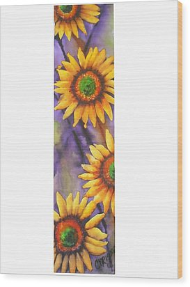 Wood Print featuring the painting Sunflower Abstract  by Chrisann Ellis