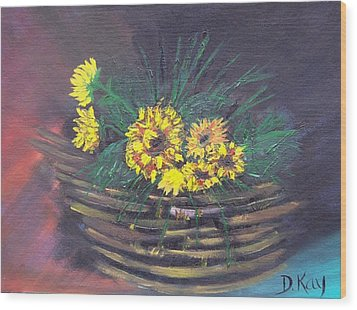 Sunflower Basket Wood Print