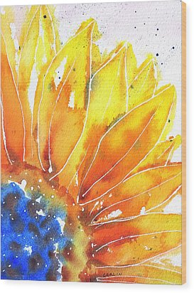 Sunflower Blue Orange And Yellow Wood Print