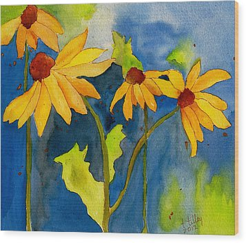 Sunflower Blue Watercolor Wood Print by Teresa Tilley