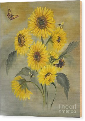 Wood Print featuring the painting Sunflower Bouquet by Carol Sweetwood