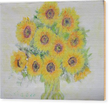 Sunflower Bouquet Wood Print