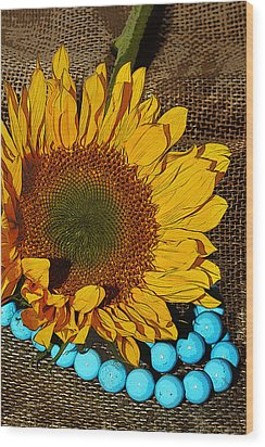 Sunflower Burlap And Turquoise Wood Print by Phyllis Denton