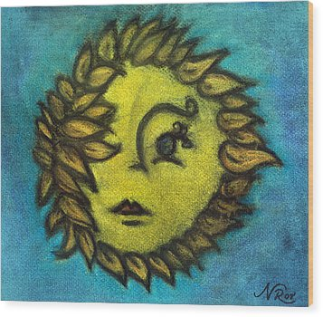 Sunflower Child Wood Print by Natalie Roberts