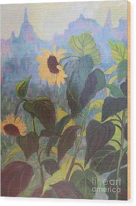 Sunflower City 1 Wood Print by Gretchen Allen