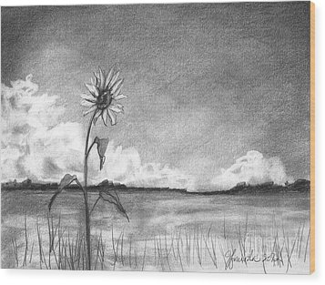 Wood Print featuring the drawing Sunflower Cloud by J Ferwerda