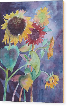 Wood Print featuring the painting Sunflower Color by Nancy Jolley