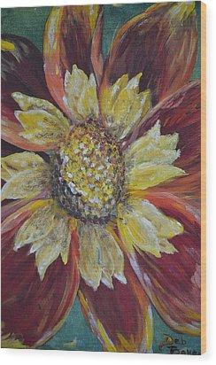 Wood Print featuring the painting Sunflower by Debbie Baker
