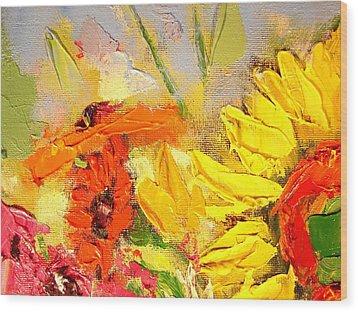 Sunflower Detail Wood Print by Ana Maria Edulescu