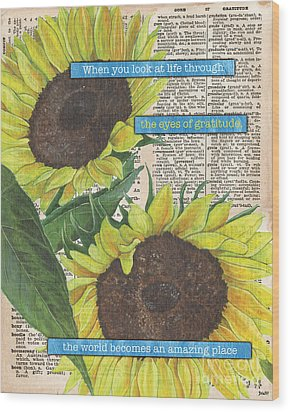 Sunflower Dictionary 2 Wood Print by Debbie DeWitt
