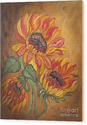 Sunflower Enchantment Wood Print by Ella Kaye Dickey