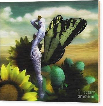 Wood Print featuring the digital art Sunflower Fairy by Sandra Bauser Digital Art
