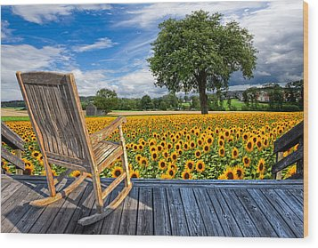 Sunflower Farm Wood Print by Debra and Dave Vanderlaan