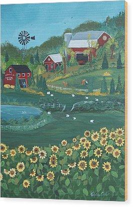 Sunflower Farm Wood Print