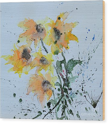 Sunflower- Flower Painting Wood Print by Ismeta Gruenwald