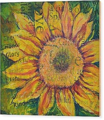 Sunflower Glory Wood Print by Lisa Fiedler Jaworski