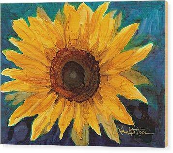 Wood Print featuring the painting Sunflower II by Karen Mattson
