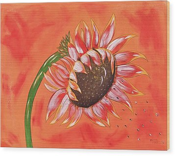 Sunflower In Fall Wood Print