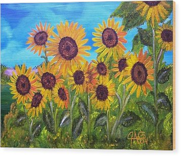 Wood Print featuring the painting Sunflower Jungle by The GYPSY And DEBBIE
