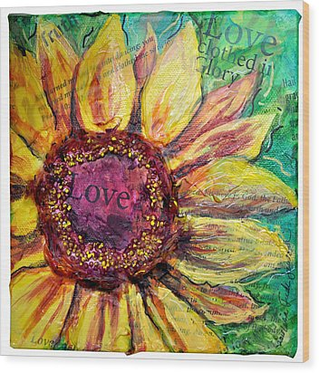 Sunflower Love  Wood Print by Lisa Fiedler Jaworski
